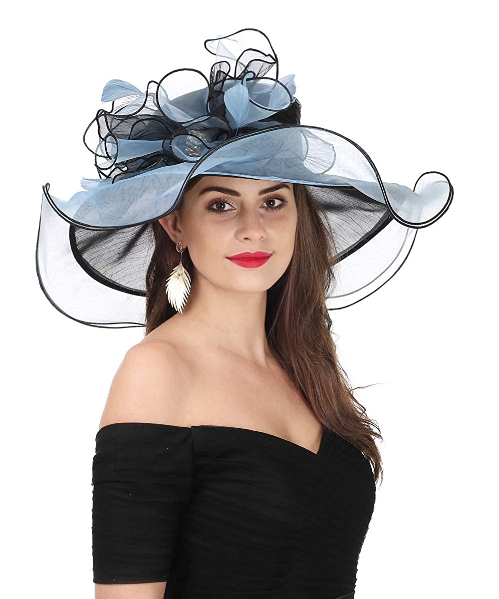 Bowknotblack bluee Lucky Leaf Women Kentucky Derby Church Cap Wide Brim Summer Sun Hat for Party Wedding