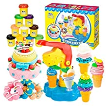 MyToy® Modeling Dough Cake Ice Cream Kit Tools Accessories Deluxe Plasticine Play Dough-Children Toys Xmas Hobby Clay