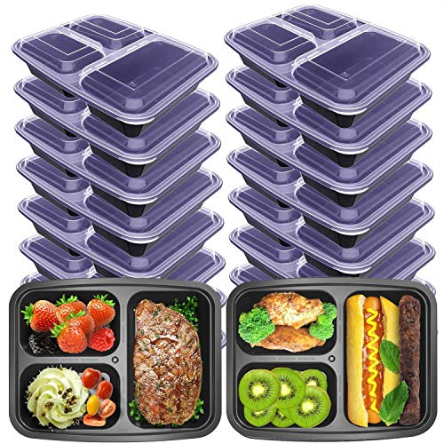 VANCOOL Meal Prep Containers 3 Compartment with Lids BPA Free Food Storage Bento Style Lunch Boxes for Portion Control ,Microwaveable/Reusable /Freezer & Dishwasher Safe 16 Pack[15+1 ] 36 oz