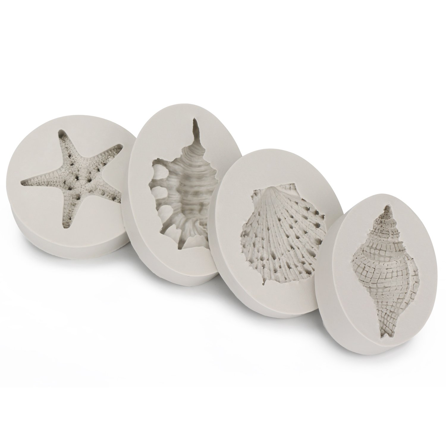 Sea Life Mold, Beasea 4pcs Cake Mould 3D Starfish Seashells Conch Silicone Mold Fondant Cake Decorating Tools Chocolate Candy Molds Kitchen Baking