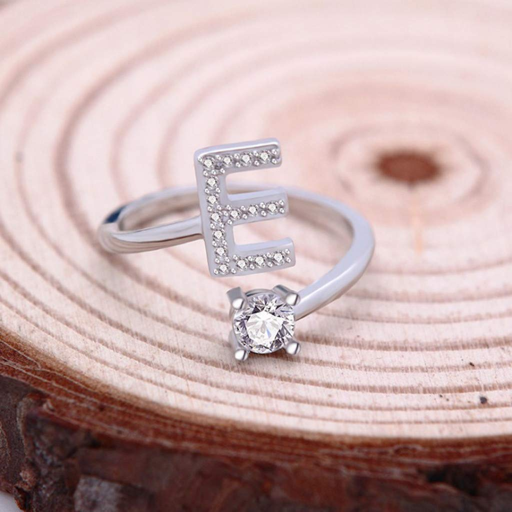 Initial Letter Ring Haluoo Sterling Silver Alphabet Initial Ring A-Z Stackable Ring 26 Letters Statement Ring Adjustable Open Wrap Engagement Promise Ring Band for Women Men