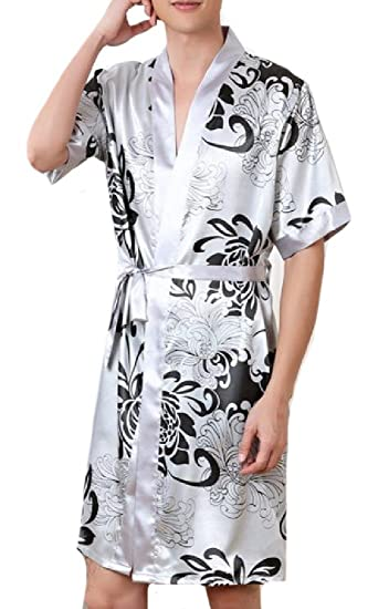 Comfy Men s Summer Lounge Robe Kimono Collar Spa Robe with Belt at ... f77c7a502