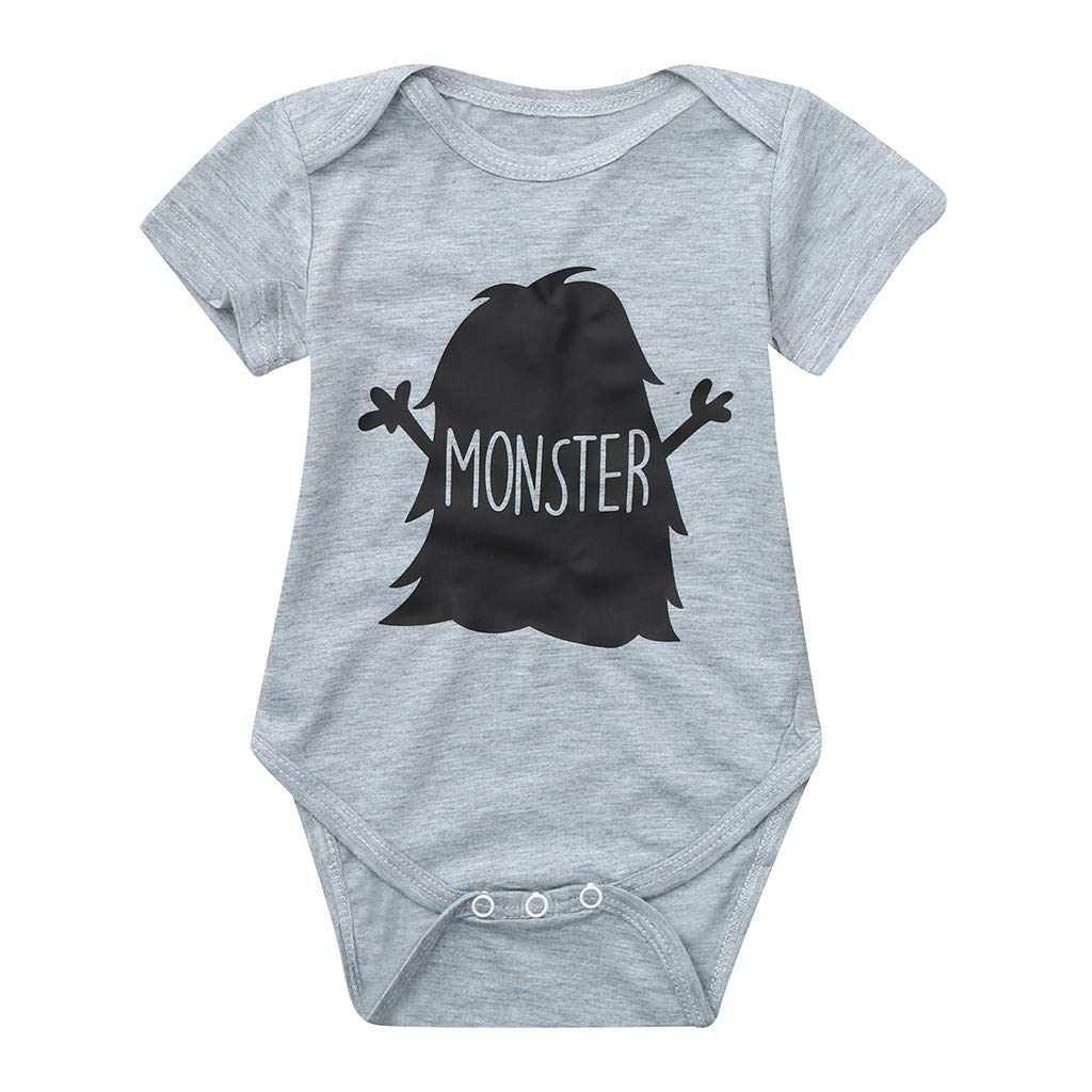 NUWFOR Toddler Baby Short Sleeve Letter Print Romper Tops Matching Family Clothes(Gray,9-12 Months