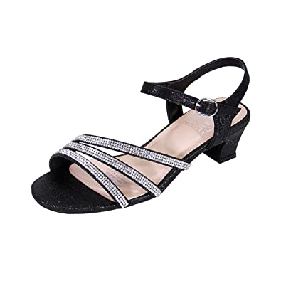 1ae3b1e21a203 Floral Jenna Women Extra Wide Width Glittery Rhinestone Upper Straps Party  Heeled Slingback Sandals Black 5