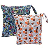Baby Wet/Dry Bag Splice Cloth Diaper Waterproof Bags Large and Small Size with Zipper Snap Handle Pack of 2 (Blue Flower and Fox)