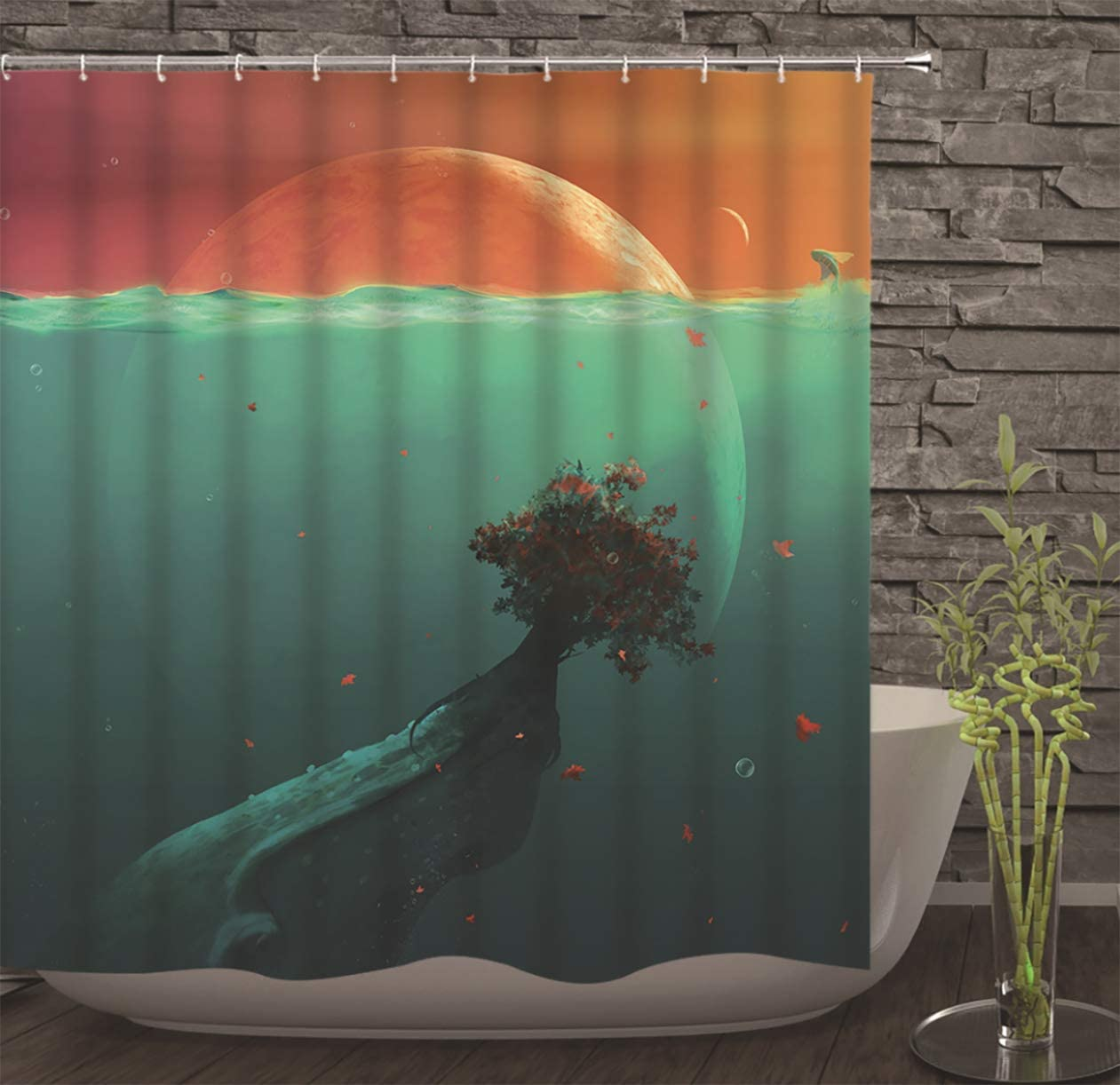 "Ruinuo Flowers in Water Shower Curtain with Hooks Star Fish Waterproof Fabric Bathroom Decor Green 71""x71"""