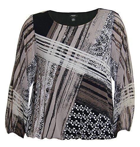 Diagonal Stripe Woven Shirt - Alfani Women's Plus Long Woven Sleeve Knit Shirt 0x Diagonal Paisley Stripe
