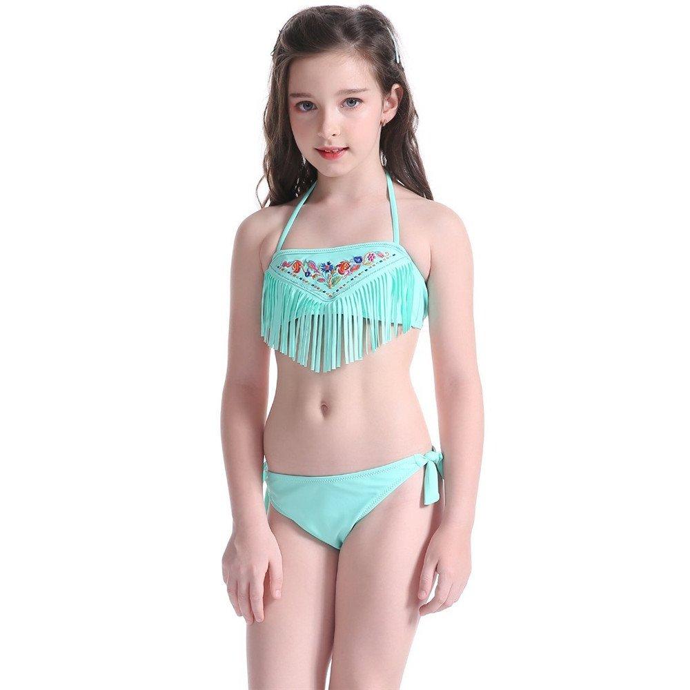 f6ea5e1f2a Amazon.com: NHockeric Kids Girls Two Piece Swimsuits Set Fashion Flower  Patterned Bikini Tassels Halter Strap Swimwear Bathing Suit Mint Green  12-14 Years: ...