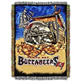 "Officially Licensed NFL Tampa Bay Buccaneers Home Field Advantage Woven Tapestry Throw Blanket, 48"" x 60"""