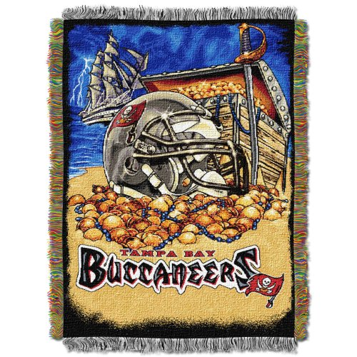 Officially Licensed NFL Tampa Bay Buccaneers Home Field Advantage Woven Tapestry Throw Blanket, 48' x 60'