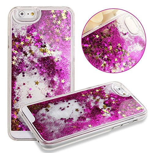 Apple iPhone SE / 5 / 5s Liquid Glitter Flowing Waterfall Quicksand Diamond Fashion Water Bling Movable Sparkle Cute Girly Kawaii Stars Case Dynamic Back [Hard + Gel Cover] By Tech Express (Hot (Pink Shimmering Stars)