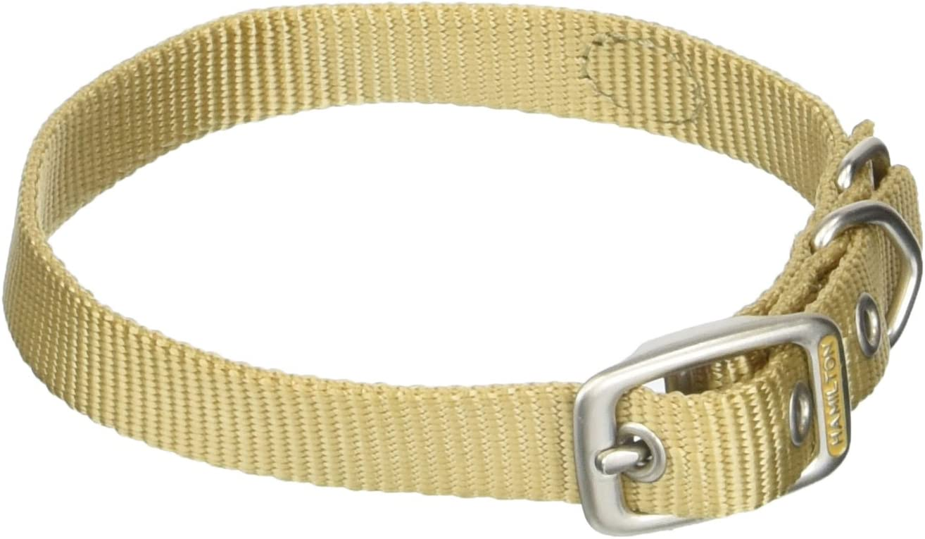 Brown 5//8 X 18-Inch Hamilton B ST 18BR Brushed Hardware Single Thick Nylon Deluxe Dog Collar