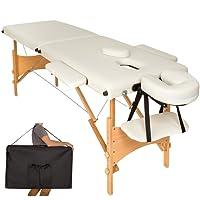 TecTake Mobile Massageliege 2 Zonen höhenverstellbar inkl. hochwertiger Kopfstütze + Tasche - diverse Farben - (Beige | Nr. 401462)
