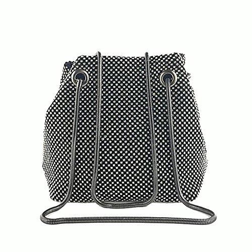 Women Girls Crystal Rhinestone Mini Bucket Evening Bags Handbags Wedding Clutch Shoulder Purse Party (black) -