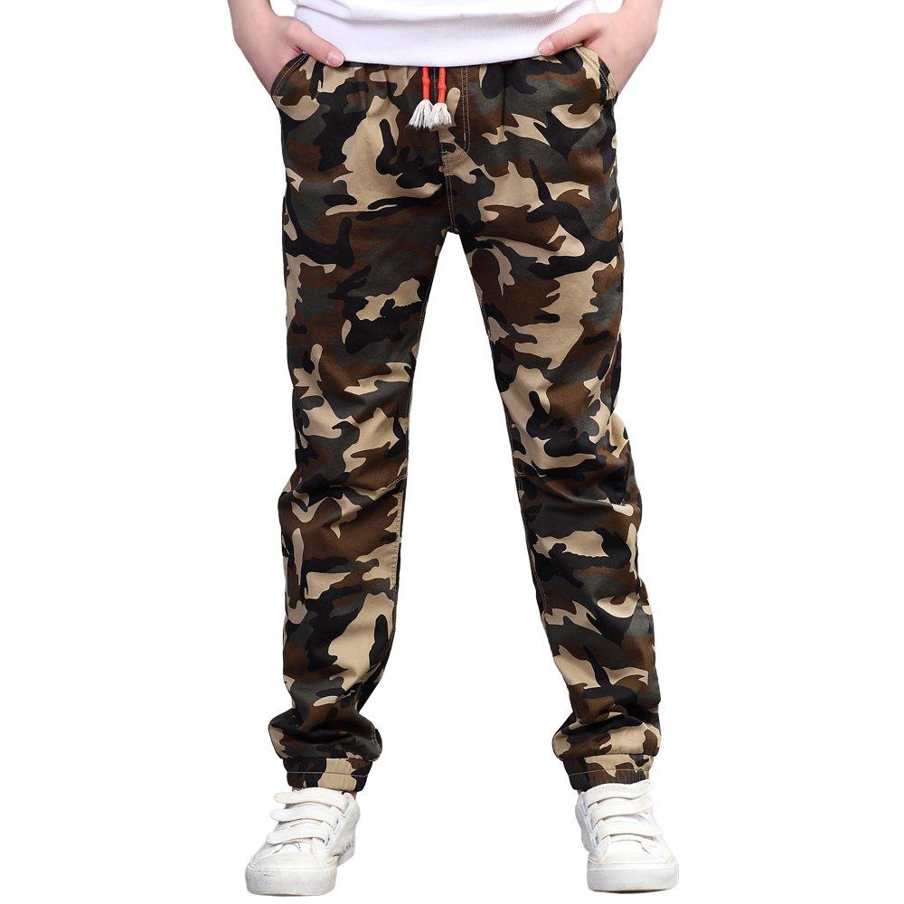 UGREVZ Boys Pants Cotton Long Teenage and Big Camouflage Casual Clothing
