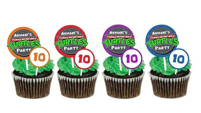 Amazon.com: TMNT-Ninja Turtles Inspired cupcake toppers-set ...