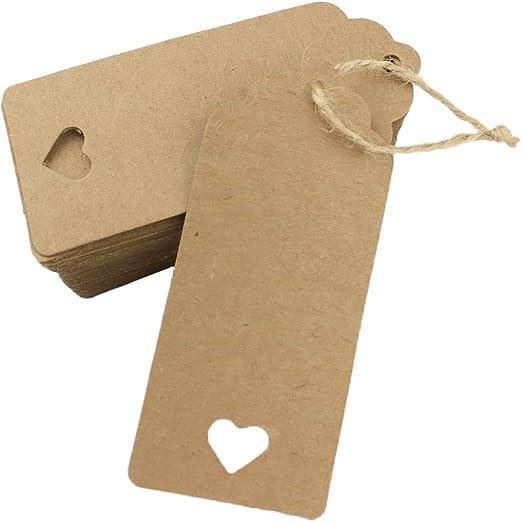 100pz Carta Kraft Cuore Tag Etichetta DIY Scheda Dono Regalo Natale Etichette