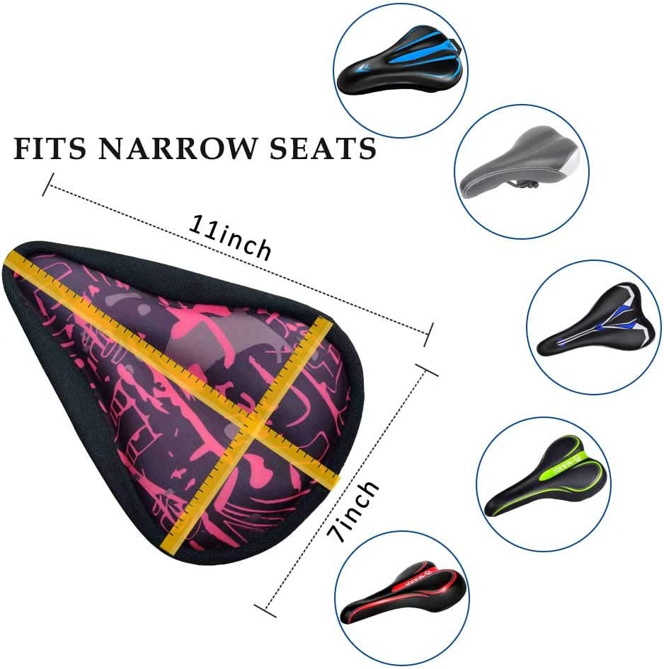 Road and Cruiser Bikes Bicycle Saddle Cover with Drawstring Karetto Bike Gel Seat Cover Road Water/&Dust Resistant Cover,Reflective Band Bandanas ,Soft Cushion for Mountain