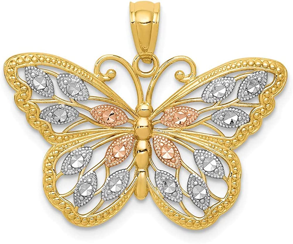 14k Yellow Gold White Rose Butterfly Pendant Charm Necklace Animal Fine Jewelry For Women Gifts For Her 61gQI1A5evLUL1000_