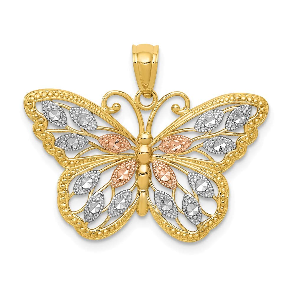 Butterfly Pendant Fashion Charm Diamond Cut 14K White Gold & Yellow Gold GemApex 37D438019