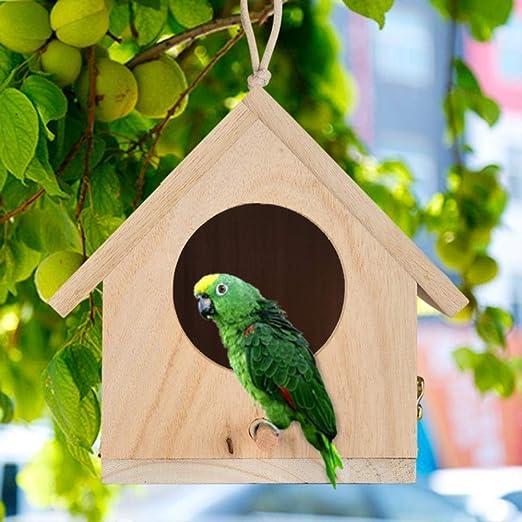 LDREYF Jaulas para pájaros Nidos DOX Casa de Madera para pájaros Casa de Nido Colgante Casa de pájaros Caja de pájaros Caja de Madera Casas de pájaros Accesorios para Mascotas 14x15x12cm Segundo: