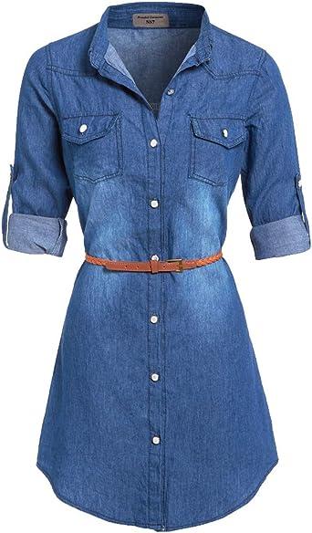 Ss7 Neuf Bleu Denim Robe Chemise Sizes 8 16 Jean Bleu 38 Amazon Fr Vetements Et Accessoires