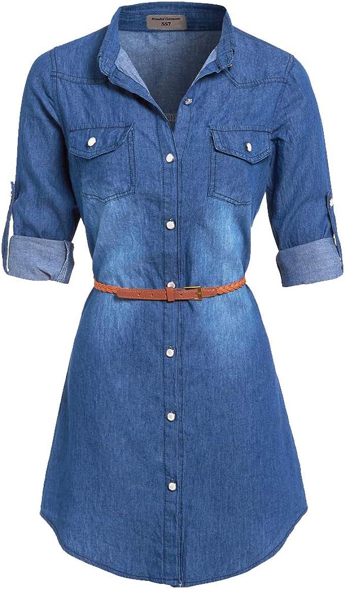 SS7 NEUF Bleu Denim Robe Chemise Sizes 8 16