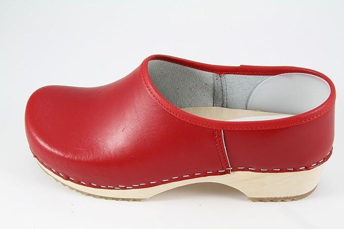 Danish Design Clogs geschlossen rot mit Naturholzsohle 2NLO2