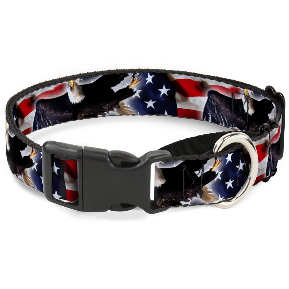 Flying Eagle American Flag 1\ Flying Eagle American Flag 1\ Buckle-Down MGC-W30672-M Martingale Plastic Clip Collar, Flying Eagle American Flag, 1 x11-17