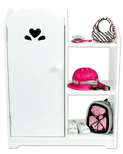 18 Inch Doll Furniture, White Wardrobe With Doll Storage Shelf, Mirror U0026 3  Hangers