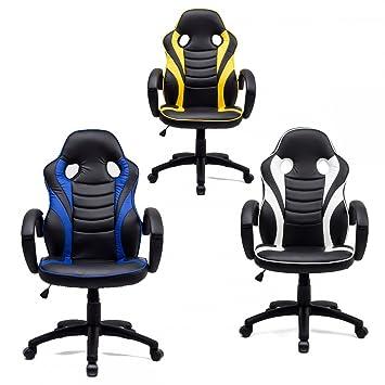 Silla gaming Sportline giratoria y ajustable de diseño deportivo para jugadores, tela, amarillo, 61: Amazon.es: Hogar
