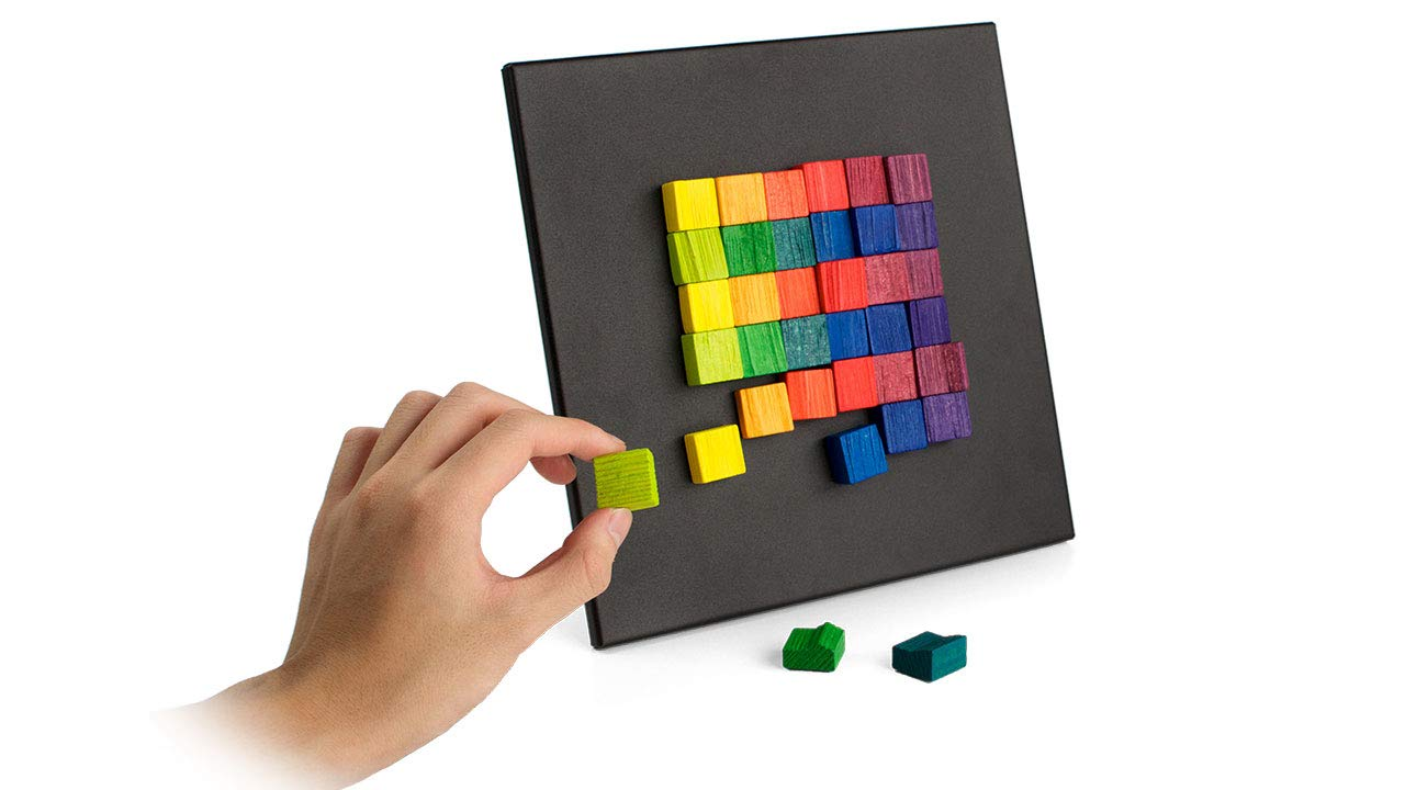 GeriGuard Solutions Magna-Art Creative Fidget Toy for Seniors for Seniors with Memory Loss. Tactile Wooden Magnetic Blocks & Sensory Fun Activity by GeriGuard Solutions