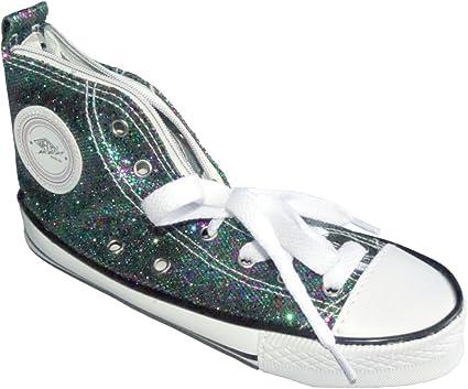 Wedo 2426157904 - Estuche escolar con forma de zapatilla deportiva Sneaker brillante, color verde: Amazon.es: Oficina y papelería