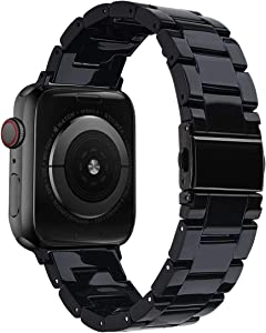 V-MORO Resin Band Compatible with Apple Watch Band 42mm 44mm iWatch Series 4/3/2/1 with Stainless Steel Buckle Black Replacement Wristband Strap Women Men (Black-Tone, 42mm/44mm)