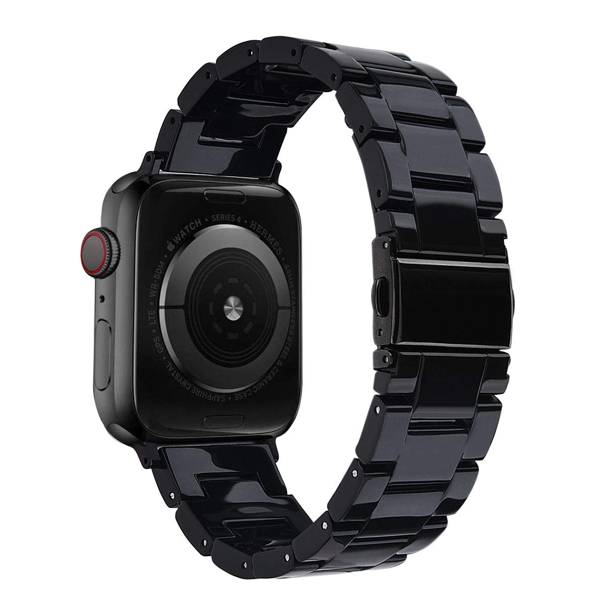 V-MORO Resin Strap Compatible with Apple Watch Band 38mm 40mm iWatch Series 5/4/3/2/1 with Stainless Steel Buckle Black, Apple Watch Replacement BraceletWristband Strap Women Men (Black-Tone)