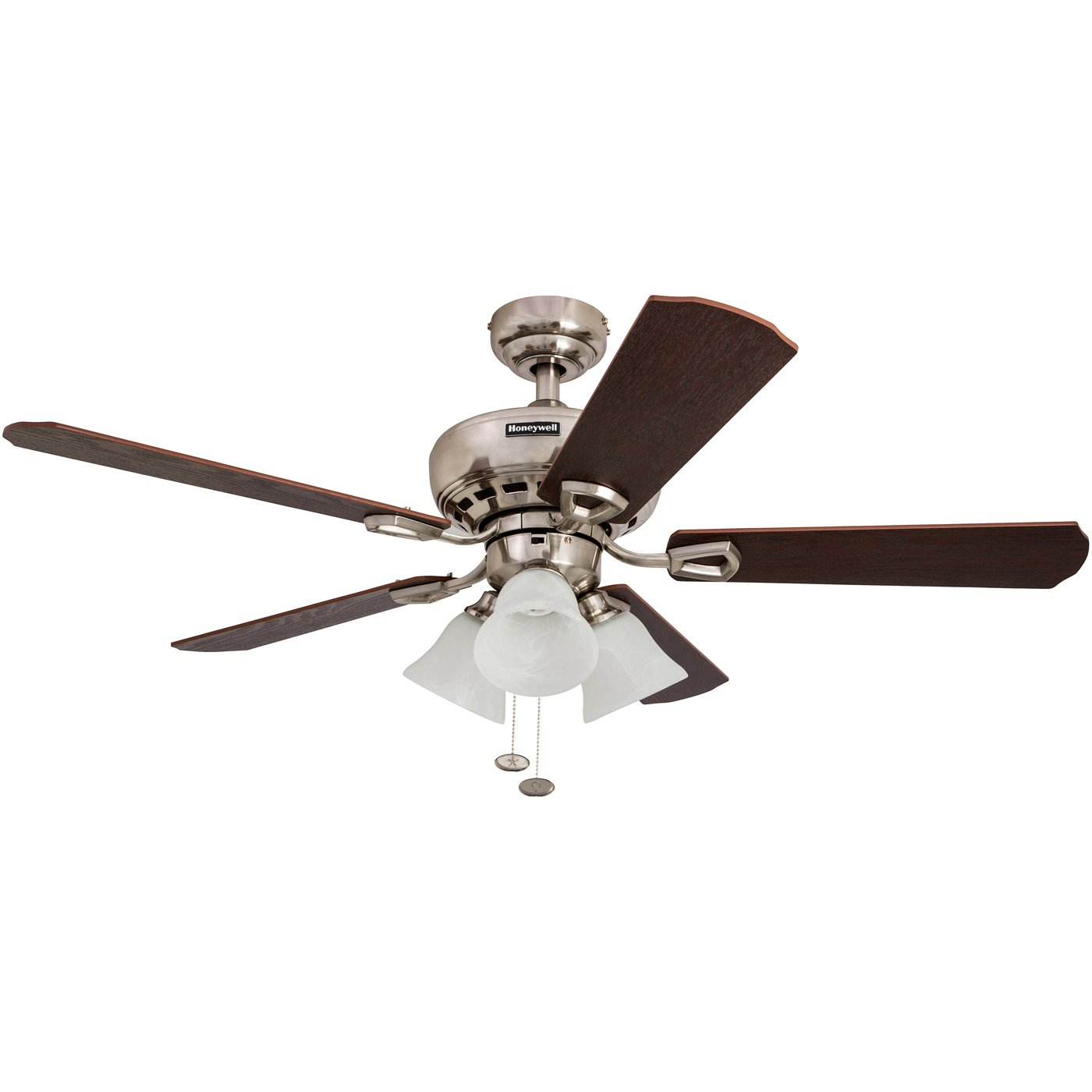 Honeywell Springhill 50184 44'' Ceiling Fan with Swirled White Light Shades, Five Reversible Warm Cherry/Chocolate Maple Blades, Brushed Nickel