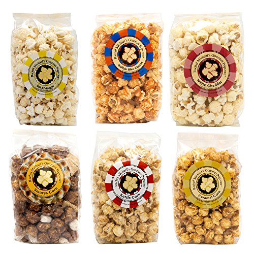 Rachel Michael's Gourmet VARIETY 6-PACK Popcorn - Perfect for wedding favors, birthday gifts, office gifts, corporate gifts, and snacks (6 bags of Popcorn)