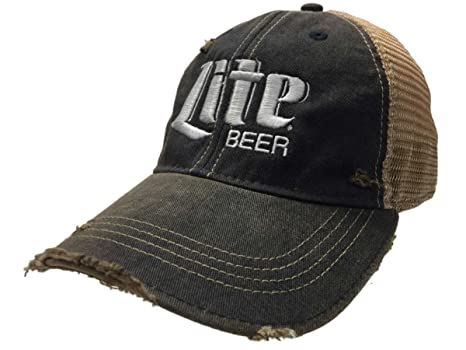 bdb0aa28 Image Unavailable. Image not available for. Color: Miller Lite Beer Retro  Brand Navy Brown Mesh Adjustable Snapback Trucker Hat Cap