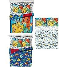 Pokémon 4 Piece Kids Twin Bedding Set - Reversible Comforter, Sheet Set with Reversible Pillowcase