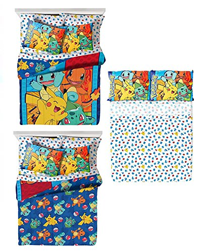 Pokémon 4 Piece Kids Twin Bedding Set - Reversible Comforter, Sheet Set with Reversible Pillowcase (Pokemon Bedding Set)