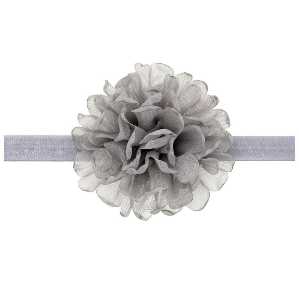 SMTSMT Baby Kids Girls Chiffon Flower Hairband Elastic Headband (Gray)