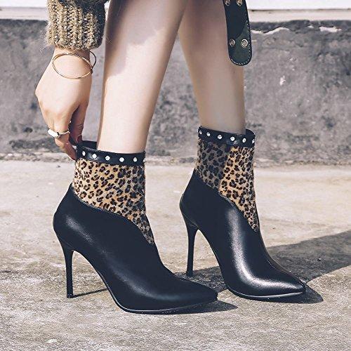 Carolbar Women Rhinestones Pointed Toe Sexy Luipaard Stilettos Herfstlaarzen Zwart