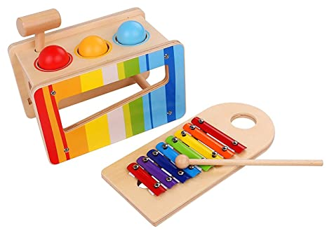Musical Toys For 1 Year Olds : Pidoko kids pound and tap bench with slide out xylophone toddlers