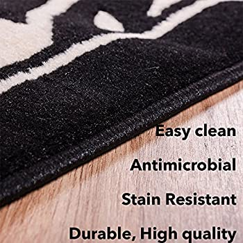 """Black and White Grey Zebra Print Area Rug 710"""" x 910"""" Casual Modern Rug for Dining Living Room Bedroom Easy Clean Carpet"""