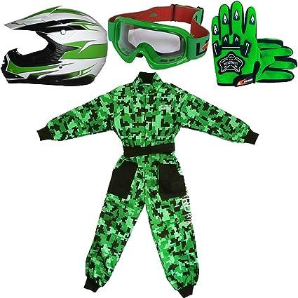 Leopard LEO-X16 Verde Casco de Motocross para Niños (S 49-50cm) + Gafas + Guantes (S 5cm) + Camo Traje de Motocross para Niños - L (9-10 Años)