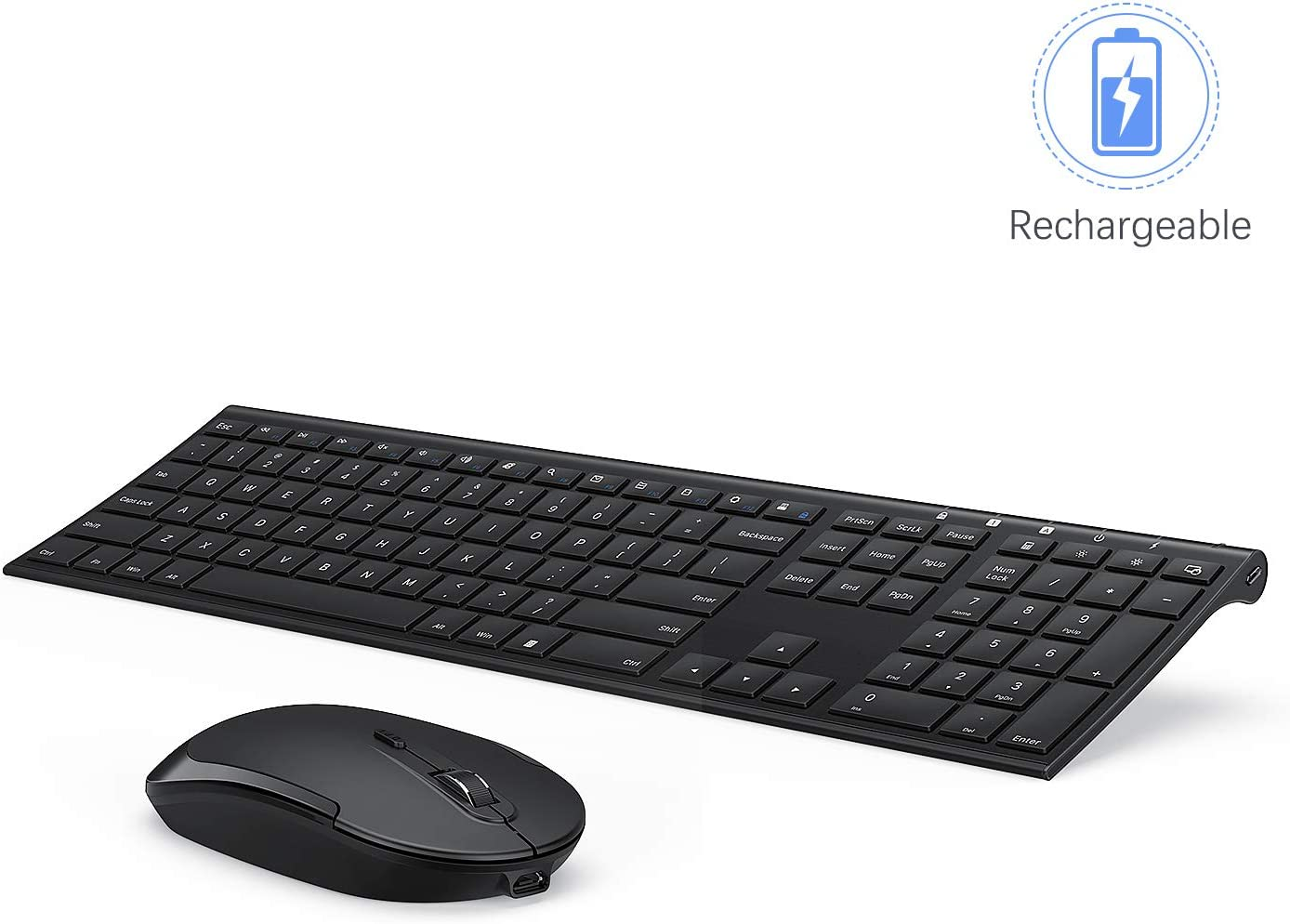 Wireless Keyboard and Mouse, Vssoplor 2.4GHz Rechargeable Compact Quiet Full-Size Keyboard and Mouse Combo with Nano USB Receiver for Windows, Laptop, PC, Notebook-Black