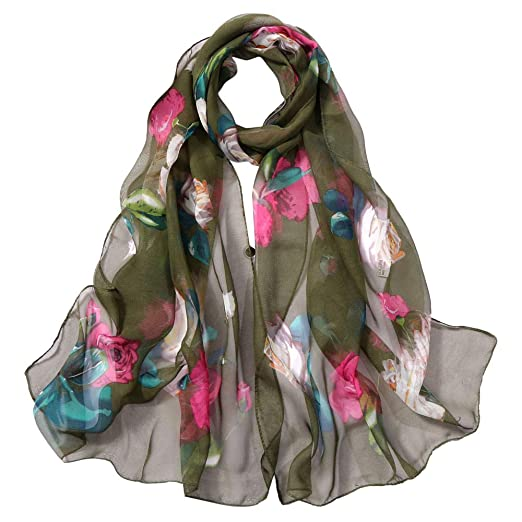 8151378fbf5a Women Lightweight Vintage Scarves Roses Print Shawl Wrap Long Voile Warm  Scarves (Army Green