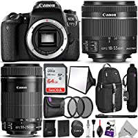 Canon EOS 77D DSLR Camera with 18-55mm and 55-250mm Lenses Kit w/Advanced Photo and Travel Bundle