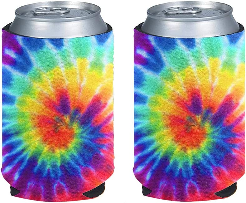 INSTANTARTS Rainbow Tie Dye Print Stylish 2 Piece Can Beverage Coolers Sleeve,Insulated Skinny Neoprene Beer Cans Cooler Sleeve