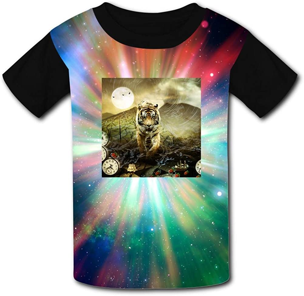 Kids//Youth Tiger Great Trip Time T-Shirts Short Sleeve Children Tees